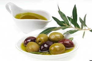 Fresh olives in extra virgin olive oil